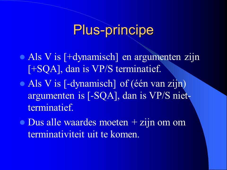 Plus-principe Als V is [+dynamisch] en argumenten zijn [+SQA], dan is VP/S terminatief.
